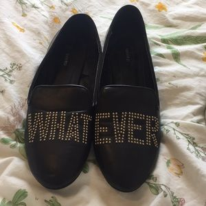 "Black ""whatever"" loafer flats"